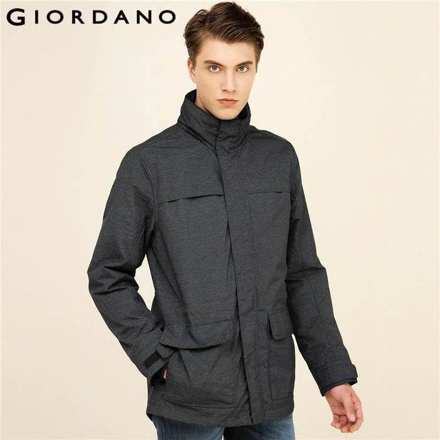Giordano Men Jacket Windproof Hooded Coat Long Sleeves Pockets Jaqueta Masculino Mid-long Outer Garment For Men Brand Clothing