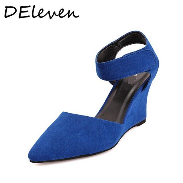 DEleventh Vintage Style Hook and Look Shallow Pointed Toe Wedges heel Sandals Slingbacks Women High heels Shoe Blue White Orange