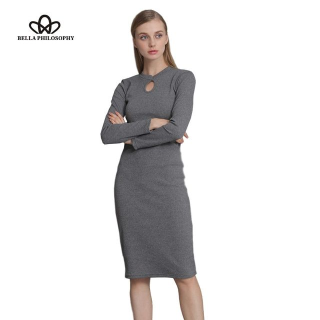 Bella PhilosophFall Winter Women Stretchy Knitted Sweater Dresses Stand Collar Hollow out Ruched Long Sleeve Skinny Pencil Dress