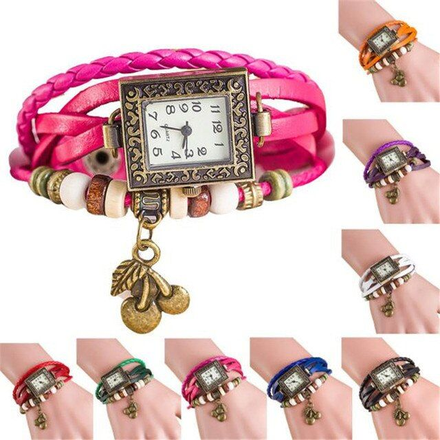 Fashion Women's Bracelet Watches Quartz Weave Around Leather Cherry Bracelet Wrist Watch Lady clock relogios feminino wholesale