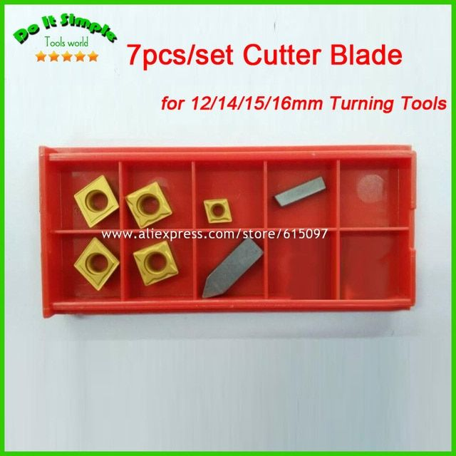 7pcs/set Blade for 12mm/14mm/15mm/16mm  Hard Alloy Turning CNC Lathe Tool Kits Cutter , Durable Cutting Tools Higher Quality