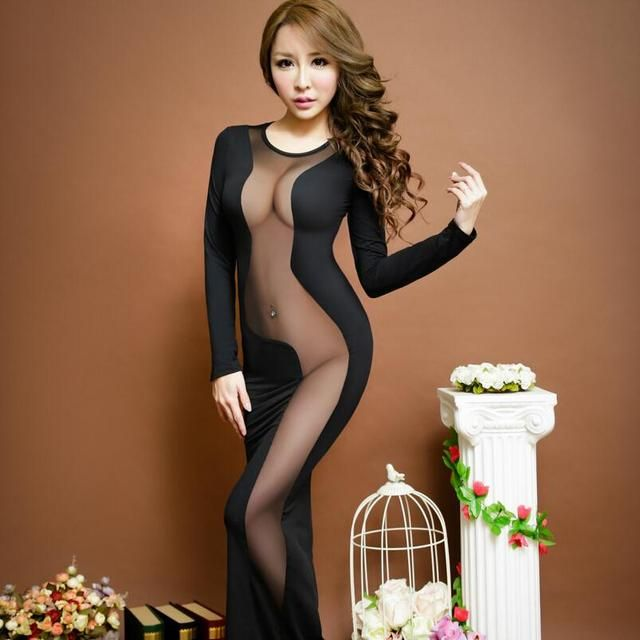 Nightclub Women Sexy Clothing Mesh Splicing Dress Racy Costumes Party Sexy Lingerie Hot Long Sleeve Dresses Fancy Underwear