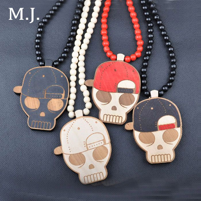 Fashion Luxury Brand Good Wood Hip Hop Death Skull Pendant Necklace Men Long Ball Beads Chain Cowboy Women Hiphop Jewelry Gift