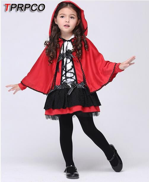 TPRPCO Children's Halloween Small Red Cap costumes Girls red devil cosplay show Cardinal Little Red Riding Hood costume NL170