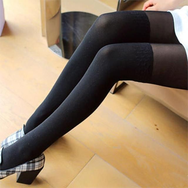 2018 Cute Girl Women Sexy Sheer False High Stocking Panty hose Fashion Over the Knee Wave Pattern Tights