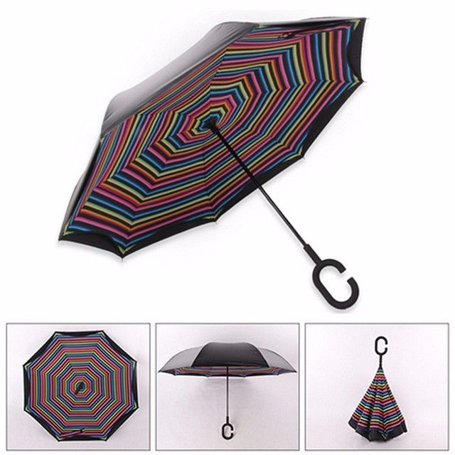 Special Design Umbrella with C-shaped Hands Double Layer Inverted Reverse Rainy Sunny Long Handle Self Standing Inside Out
