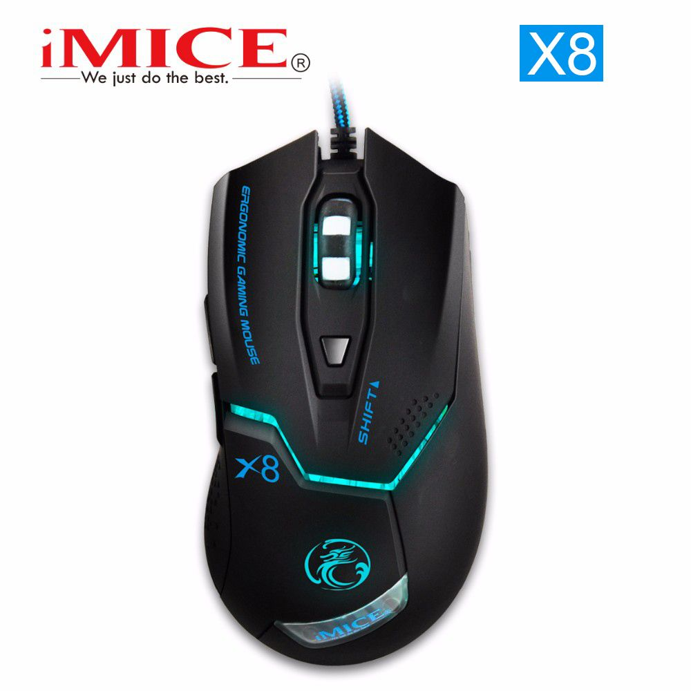 [Genuine] iMICE X8 Professional Mice 7 Buttons Gaming Mouse LED Optical USB Wired Computer Desktop Cable Gamer Peripherals