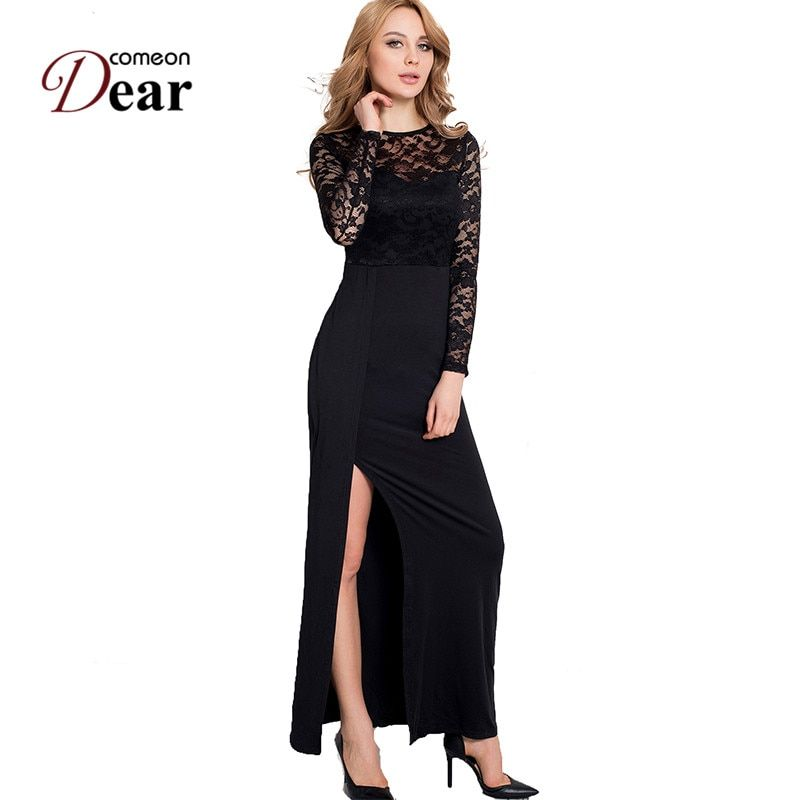 Comeondear New Long Sleeve Dress Summer 2017 Black Dress RB70229 Off the Shoulder Cheap-Clothes-China Plus Size Women Long Dress