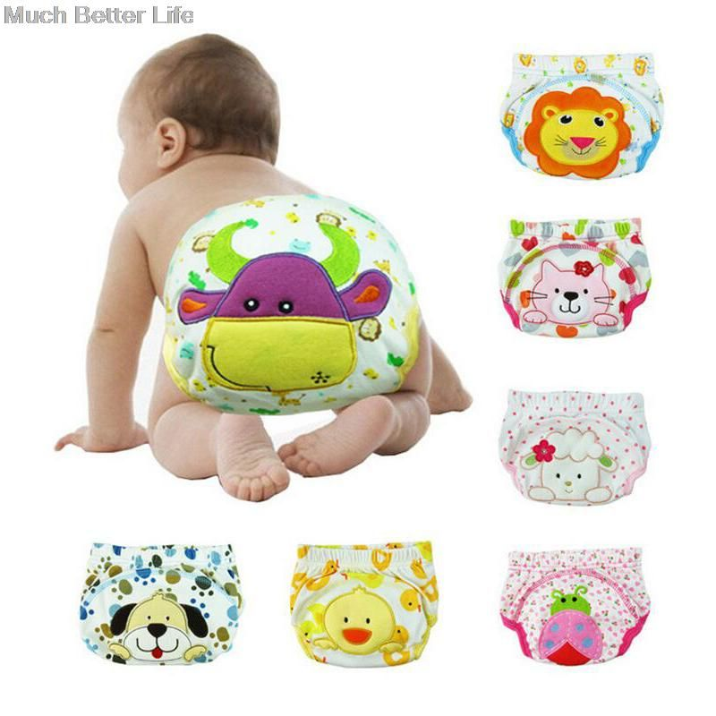 Cute Cartoon Animal Reusable Washable Baby Infant Toddler Waterproof Training Pants Cotton Changing Nappy Cloth Diaper Panties