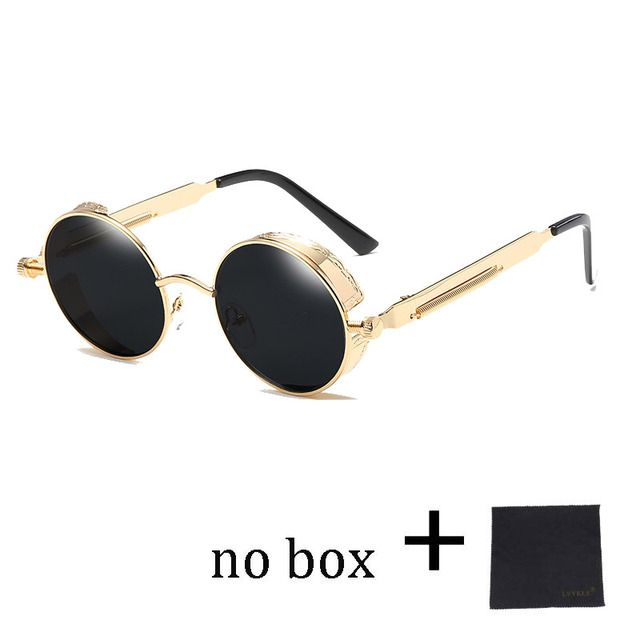 Hight Quality Round Steampunk Sunglasses Women Vintage Sunglass Men Gothic  Gold Metal Circle Goggles Mirror 58028