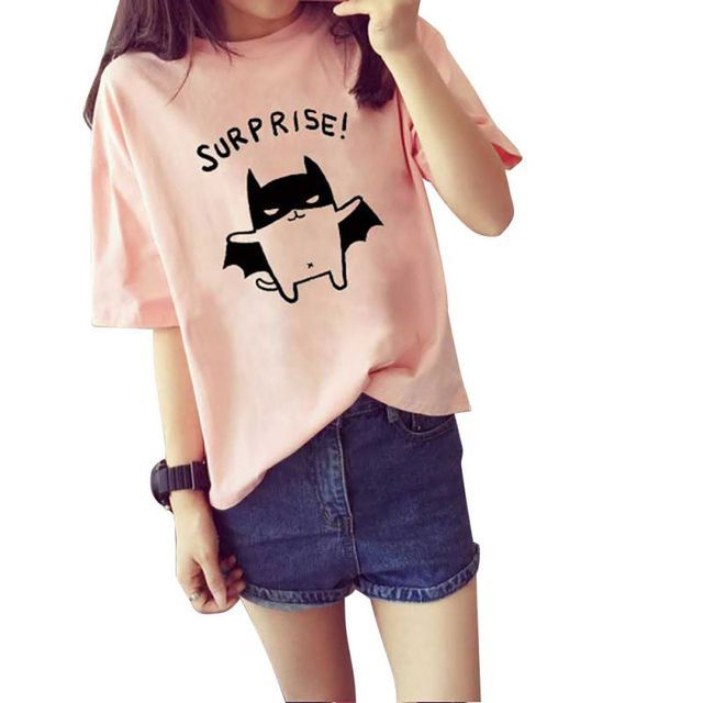 2016 Women's Summer T-Shirt Lovely Bat Printed Short Sleeve Tops Free Shipping New