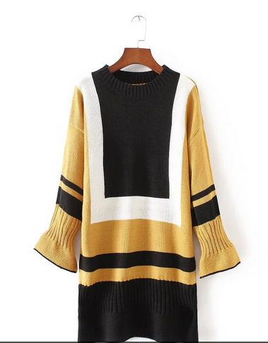 Women Pullovers Sweater 2016 Autumn Winter Sweater Dresses Flare Sleeve Fashion Women Autumn Knit Sweater O neck sudaderas Unif