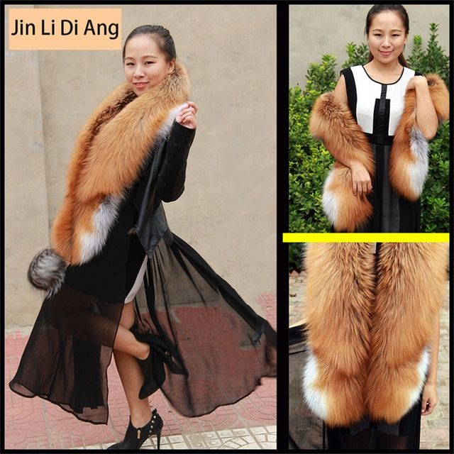 Jin Li Di Ang 2017 Brand Women Long Real Natural Red Fox Fur Scarf Genuine Luxury Soft Red Fox Hair Scaves Shawls