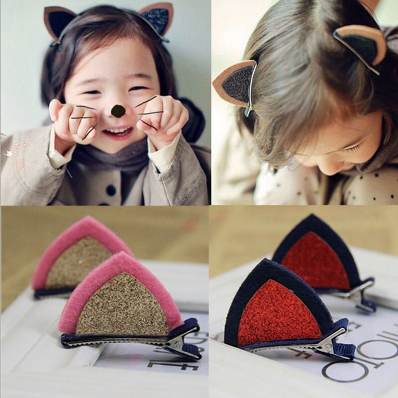 1pc Cute Cat Ear Hairpins Hair Ornaments Kids Hair Jewelry Children Hair Accessoreis Girls Hair Clip Kids Barrettes Hairpins