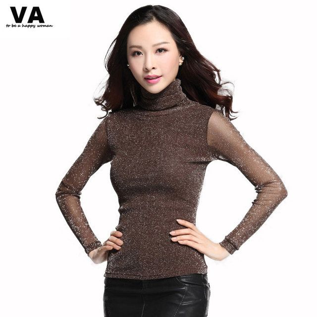 VA Women Blouses Long Sleeve Turtleneck Winter Elegant Women Blouse Fashion Women Tops Big Plus Size Ladies Blouses F00085