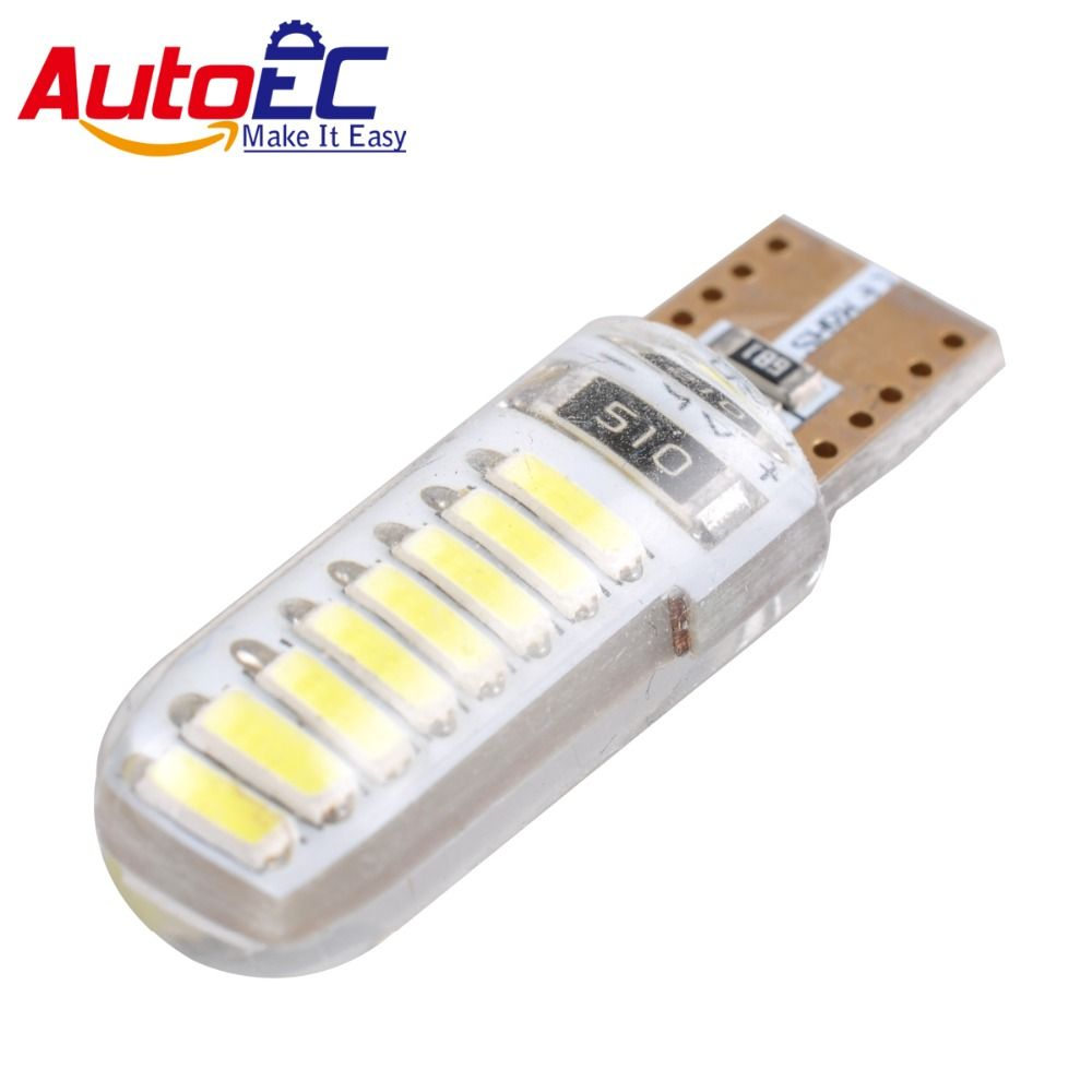 AutoEC 4x T10 w5w led silicone lamp 194 168 16smd 7020 Car Dome License Plate Lamp Marker Clearance Light DC12V #LB154
