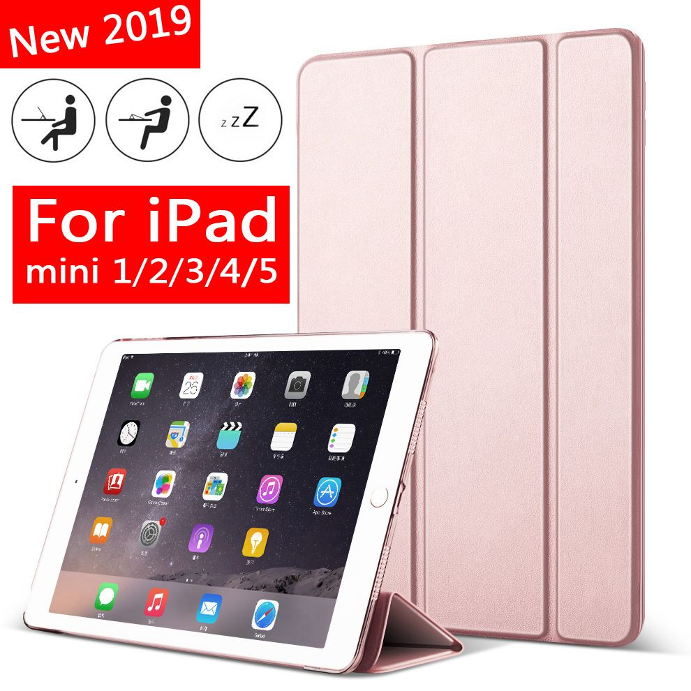 Case for iPad Mini 5 4 3 2 1 Slim PU Leather Trifold Stand Auto Sleep/Wake up Smart Cover for mini1 mini2 mini3 mini4 mini5