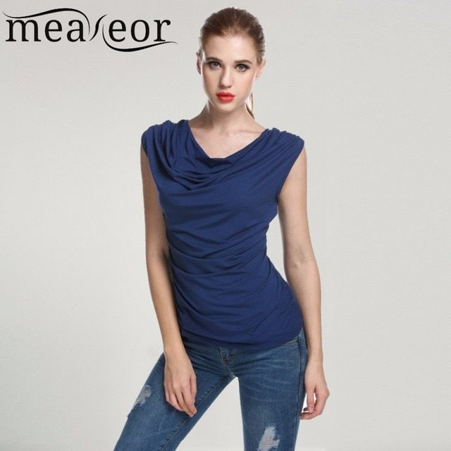 Meaneor Women Cowl Neck T-shirts tops women Sleeveless t-shirt Ruched Slim Tshirts Navy Blue Solid Summer Sexy TOP 2017 New S-XL