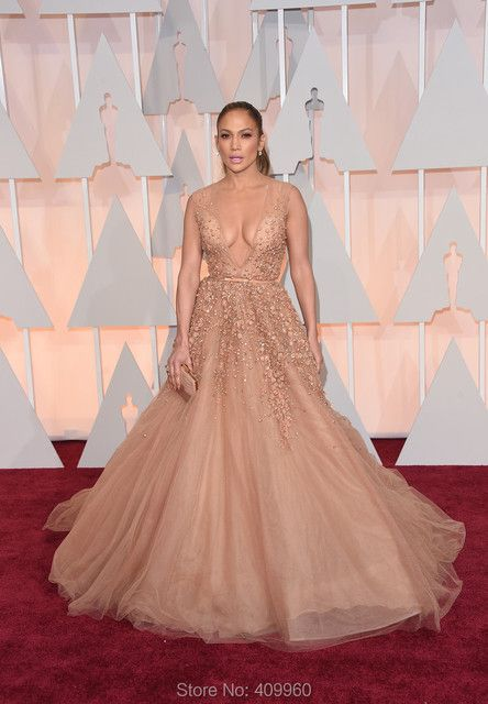 Jennifer Lopez Red Carpet Dress Sexy Deep V Neck A Line With Beading Natural Waist Floor Length Tulle Celebrity Dresses