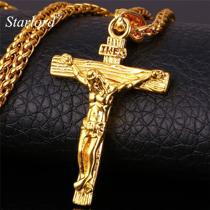 Personalized INRI Jesus Piece Crucifix Pendant&Necklace Stainless Steel Gold Chain For Men Gift Vintage Christian Jewelry GP1166