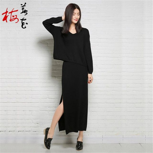 2016 New Women's Wool knit two-piece dress  Sweater Split skirt  Shirt  Cashmere Dresses