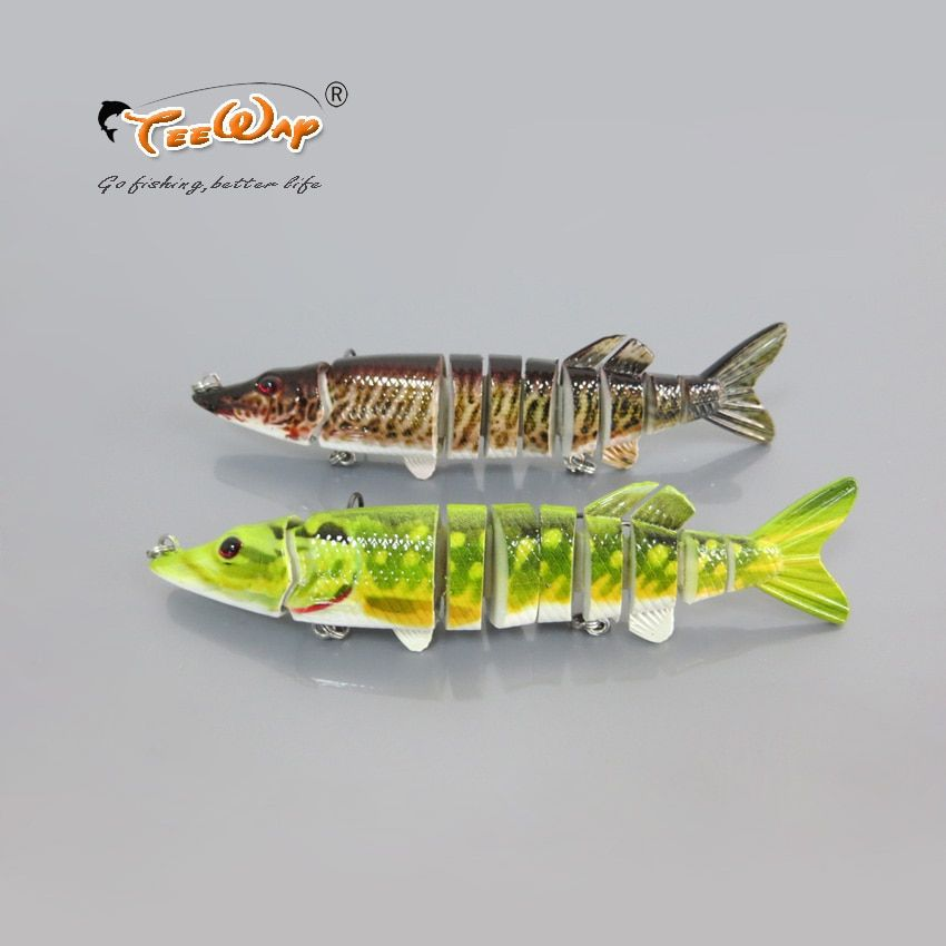 Isca Artificial Fishing Lure 9 segement Pesca Swimbait Pike Muskie Hard Lure Treble Hook Crankbait Fishing Tackle Bait 5'' 19.5g