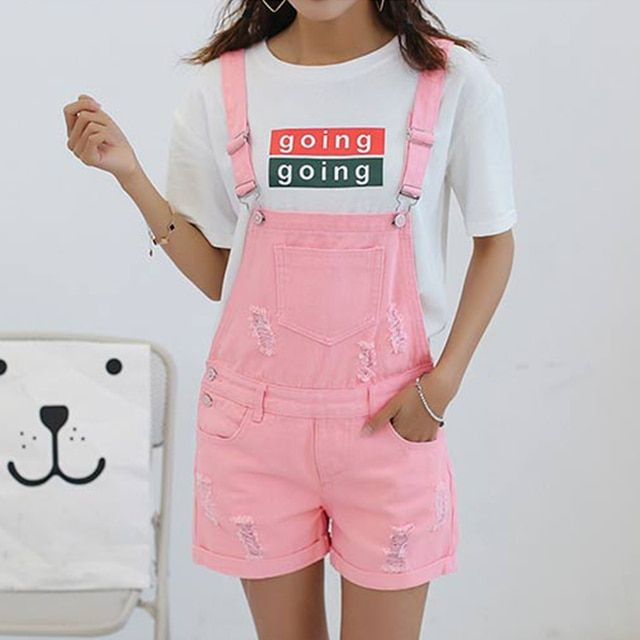 2017 New Arrival Summer Girls Denim Jumpsuits Rompers Women Pink Holes White Hem Rolled-up Loose Preppy Style Black Shorts XL M