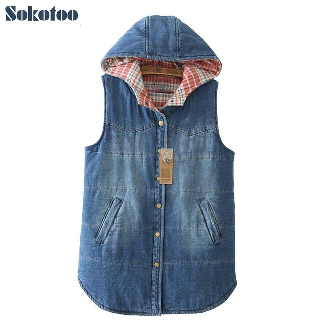 Sokotoo Women's winter warm plus size hooded denim vest Lady's casual large size plaid thick vest Female Free shipping