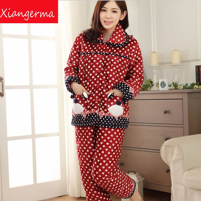 Female winter Folder cotton pajamas thick coral velvet quilted flannel suit big yards cute cartoon tracksuit free shipping