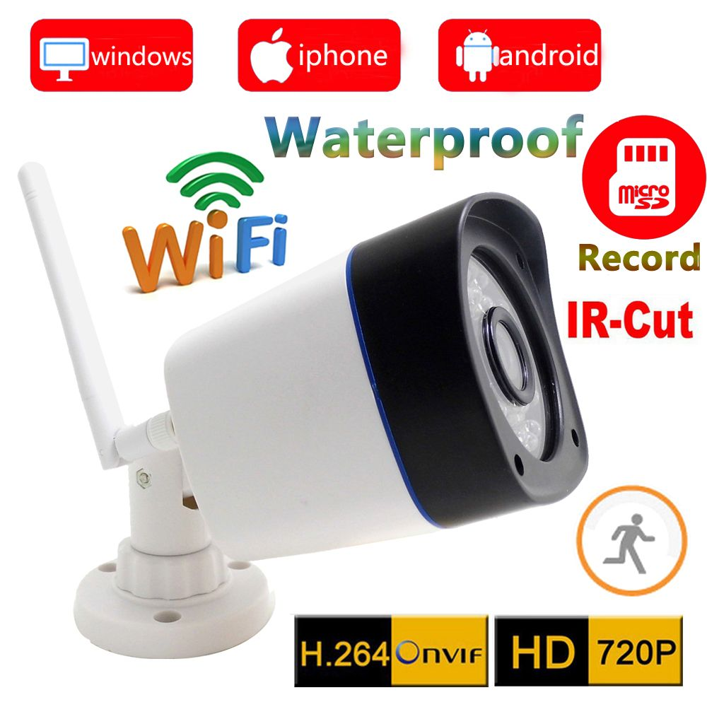 720p ip camera wifi wireless outdoor waterproof weatherproof cctv security system support micro sd Card record ipcam home cam