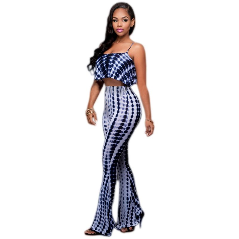 2 Piece Set Women 2016 Summer Sexy Two Piece Set Suit Crop Top and Pants Suits Women Sleeveless Polka Dot Printing 2 Piece Sets