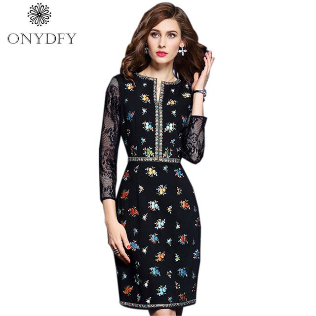 Autumn Runway Dresses 2017 Women High Quality Vintage Floral Embroidery Pencil Dress Party 3/4 Sleeve Ladies Office Vestidos