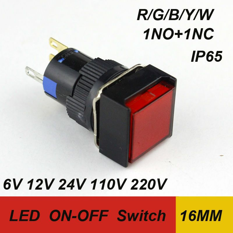 16MM 1pcs packing momentary led push button switch integrated type SPST waterproof switch 6V 12V 24V 110V 220V shipping free