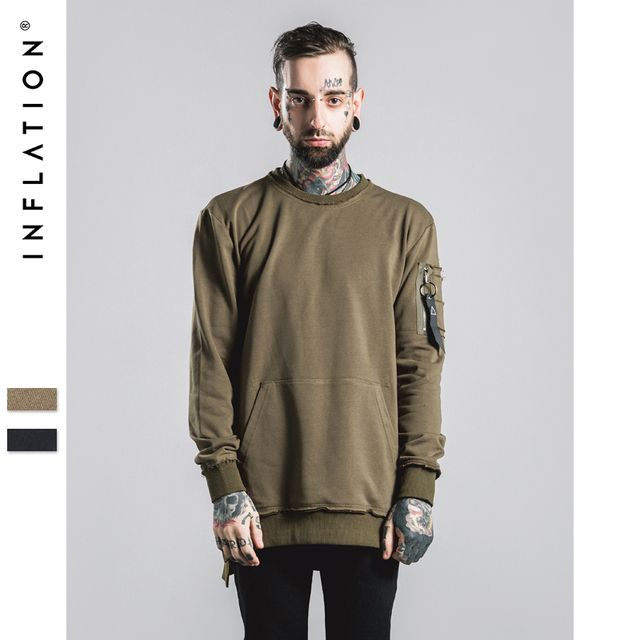 INFLATION 2016 Autumn & Winter MA1 Pocket Thin New Sweatershirt 210G Male  Hip Hop Long Man Hoodies Sweatshirts Outerwear