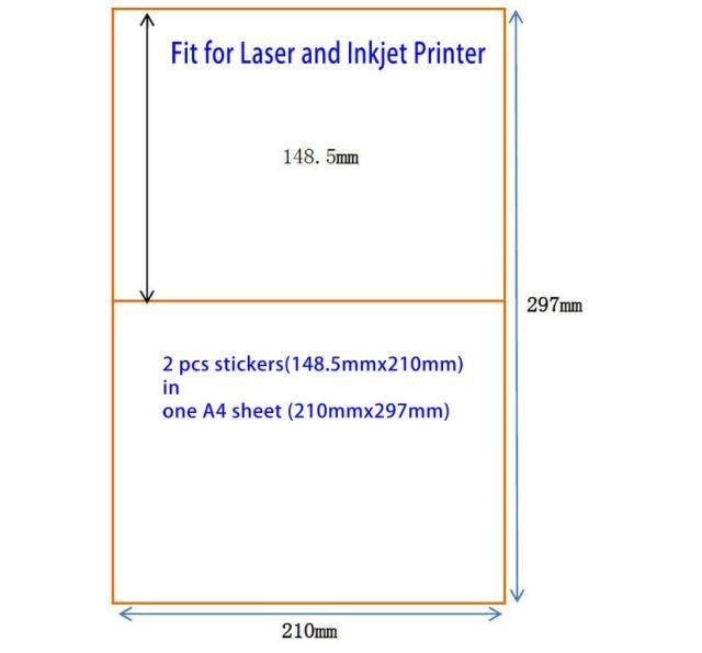 200 Half Sheet 210mm X 148.5mm A5 Sticker Shipping Label For Laser and Inkjet Printers Ebay Paypal USPS UPS Labels