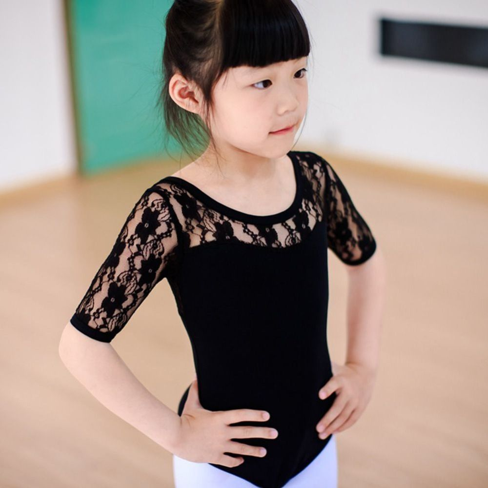 Child Kids Girl Ballet Dance Dress Lace Half Sleeve Gymnastics Leotard Clothes Tutu Strap Dresses