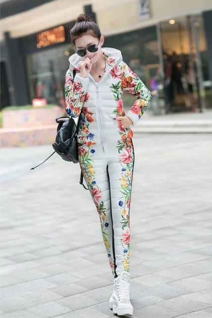 2016 Winter Jacket Women Casual Flower Printed Hooded Warm Thickening Parka (Coat+Pants Sets )
