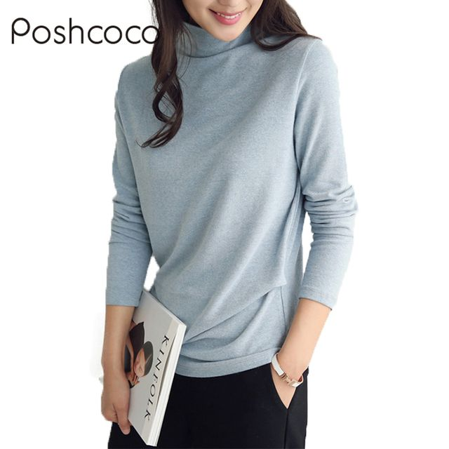Poshcoco Autumn Winter Cotton Casual Turtleneck Long Sleeve Women T shirt 2017 New All-mach Underneath Warm Solid Woman Shirts