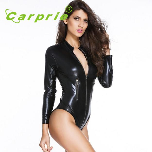 2016 new arrivel motorcycle car racing suit clothes jacket coverall Sexy Adult Black imitation leather Bodysuits women OC 11