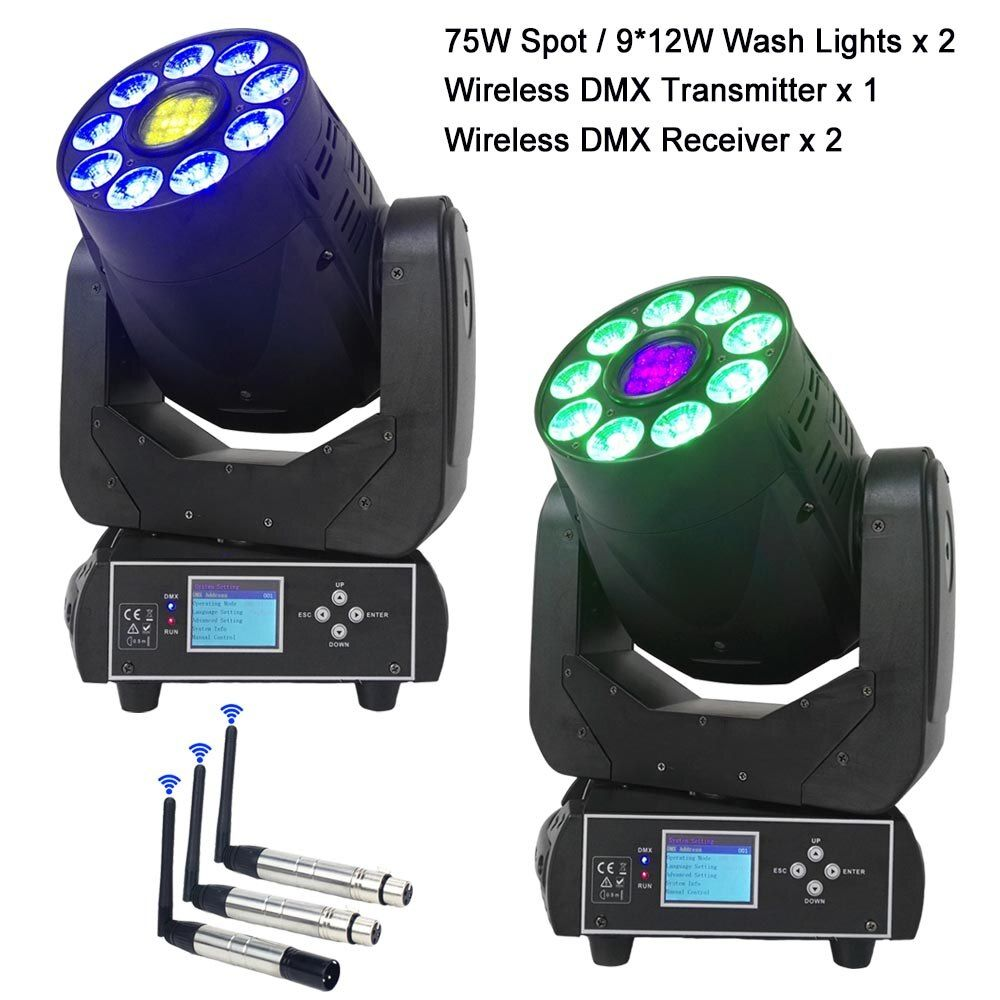 Hot RGBWA+UV LED Moving Head Beam Spot Wash Lights For Professional Stage Effect Lighting And Wireless DMX Transmitter Receiver