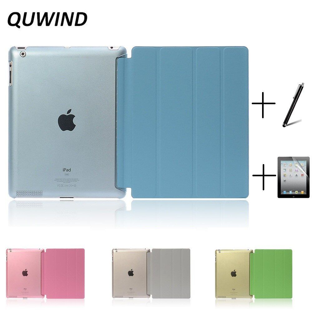 QUWIND Ultra Slim Fold PU Leather with Crystal Hard Back Smart Stand Case Cover for iPad 2 iPad 3 iPad 4 Mini 1 2 3 4 5 2019