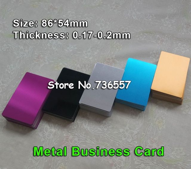 free shipping 100pcs Blank sublimation metal name card printing blank business card use sublimation ink and paper five colors