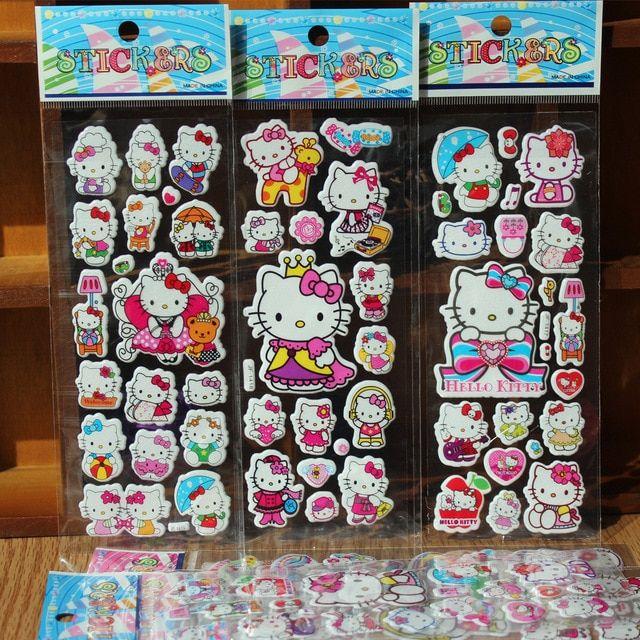 % 10 Sheets/lot 3D Cartoon animal hello kitty  wall stickers Kids Toys Bubble stickers Teacher baby Gift Reward PVC Sticker