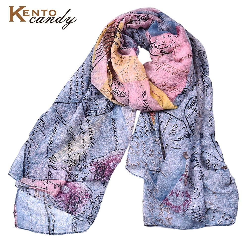 2017 new dropship postcard print winter scarf for women  top design letter lady scarfs plaid foulard femme muslim hijab shawl