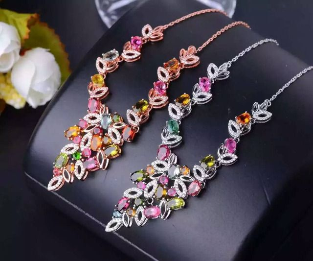 Natural multicolor tourmaline Necklace natural gemstone Pendant Necklace S925 silver trendy Luxury flowers women Jewelry