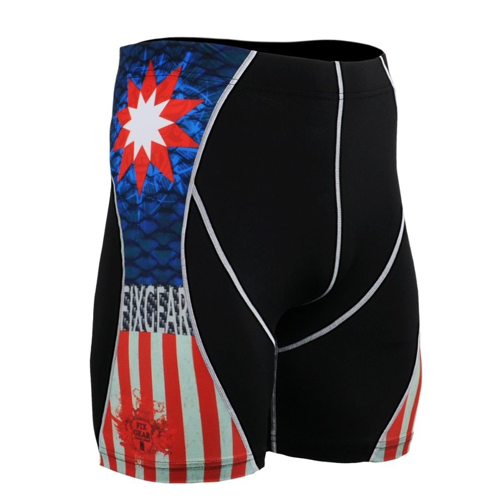 Captain America Printed Men's Stretch Compression Shorts Basketball Training Base layer Drawers Gym Running Fitness P2SB37