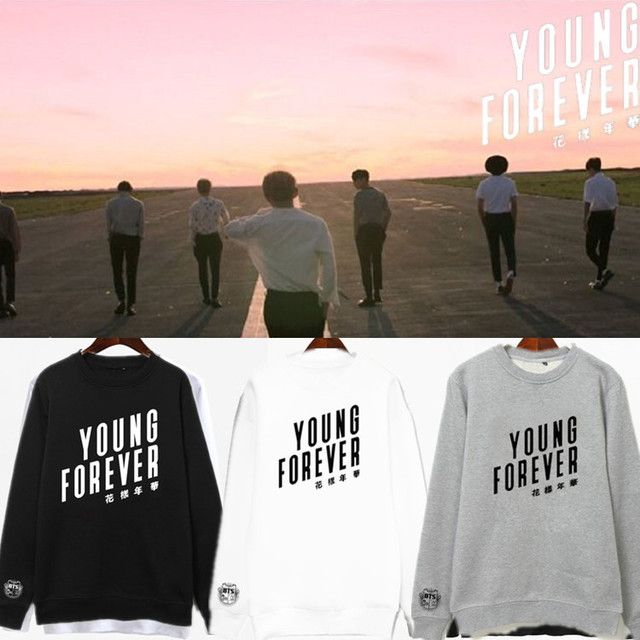 BTS Bangtan Boys Young Forever Cotton Mood for Love Print Black White Gray Pullovers Hoodies Sweatshirts for Women Girl Boy