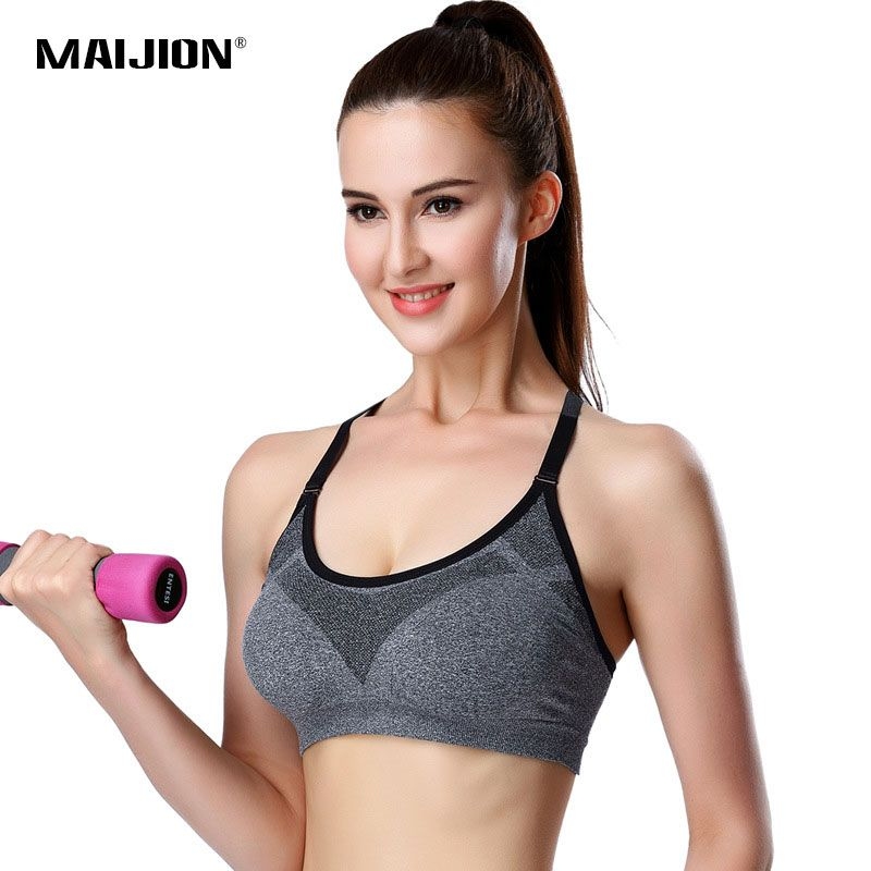 MAIJION Women Professional Adjustable Spaghetti Straps sportes Bra Tank Top Seamless Padded Stretch  brassiere Push Up Bras
