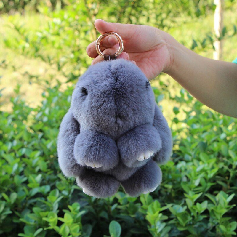 Real Fur Rabbit Keychain Fashion Key Ring Genuine Rex Rabbit Furs Bunny Keychain pendant Bag Car Charm Tag Cute Rabbit Toy Doll