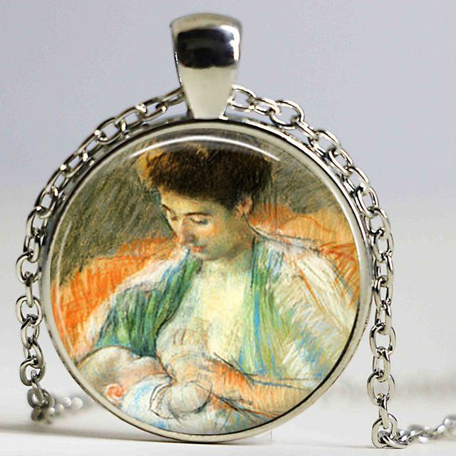 New Mother Rose Nursing her Baby Pendant Necklace Breast Feeding vintage Jewelry Mother and Child Colares Femininos